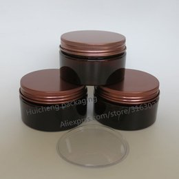 Wholesale Cosmetic Jar Packaging Glass - 20 x 100 gram Amber Empty Plastic Jar With Bonze Lid Makeup Bottle Cosmetic Packaging Hand Cream Containers Facial mask Jars