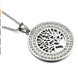 Wholesale tree pendant for men - HIP Hop Gold Color Stainless Steel Ice Out Bling Wisdom Tree Tree of Life Pendants Necklaces for Men Jewelry