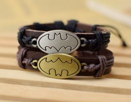 Wholesale New Batman Movies - Supply Cool New Genuine Leather Bracelet Jewelry Bangle Cuff Pewter Metal Hollywood Film Batman Charm Bracelets free shipping