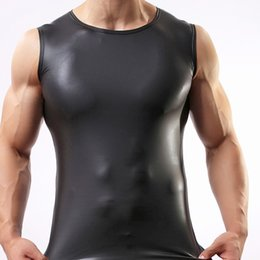 Wholesale Tight Tank Top Undershirt - Sexy Black Faux Leather Tank Tops Gay Addicted Slim Fit Sleeveless Vest Undershirts tank tops fashion tight compression corset