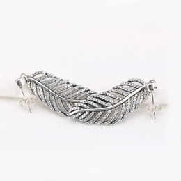 Wholesale Charm Feather Earring - Compatible with pandora Jewelry Light as a feather Earrings with crystal Original 925 Sterling Silver Earring DIY fashoin style