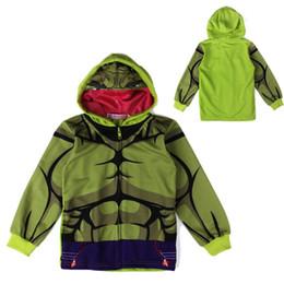 Wholesale Kids Character Sweatshirts - causal boy's anime hoodie sweatshirt cartoon green Hulk hooded coat for 2-6yrs boys children kids outerwear clothes