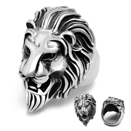 Wholesale Lion Rings Women - Fashion Jewelry Metal Lion Men Stainless Steel Ring Size US 8-11 Gifts Punk Rings Men Women Hip Hop Ring