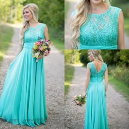Wholesale turquoise chiffon dress long sleeve - 2017 Cheap Country Turquoise Mint Bridesmaid Dresses Illusion Neck Lace Beaded Chiffon Long Plus Size Maid of Honor For Wedding Party Dress