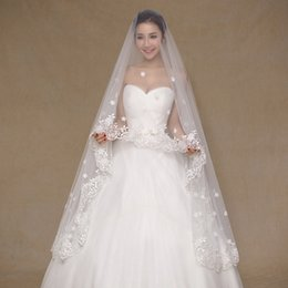 Wholesale Real Garments - In Stock 2017 Real Photos Ivory Wedding Veil 3m Long Lace Appliques Mantilla Bridal Veil Wedding Accessories Veu De Noiva