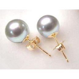 Wholesale Dangle Cross Stud Earrings - Wholesale Sea shell Grey Shell Pearl 10mm Gold plated Stud Earring AAA+0066
