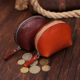 Wholesale Vegetable Tanning - Wholesale- Vintage Fashion Vegetable Tanned Leather Mini Coin Purse Women Wallet Genuine Leather Shell Coin Pouch Purse Clutch Brown Coff