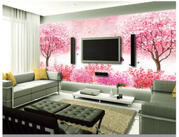 wallpapers cherry blossom Promo Codes - High end Custom 3d photo wallpaper murals wall paper Pink Romantic Cherry Blossom 3d living room wallpaper background wall home decor