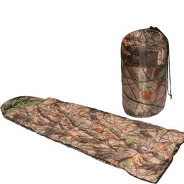 Wholesale Filling Equipment - Leaves Pattern Camouflage Camping Sleeping Bag 3 Season Cotton Filling Envelope Style Army Hooded Military Sleeping Bags Fishing Equipment
