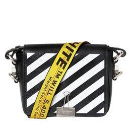 Wholesale Shoulder Bag Cow Men - 2017 SS Off White Women's Bag Oblique Stripes Cow Leather Flap Messenger Bag Causal Versatile Hasp Shoulder Straps Bag