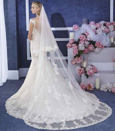 Wholesale Wholesale Cathedral Wedding Veils - 2017 NEW 2 Layer White ivoryBridal Cathedral Veil Lace Edge Bridal Wedding Veil With Comb free shipping AOP--003