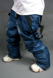 Wholesale Men S Snowboard Pants - Wholesale- NEW ARRIVAL! Branded new Style Denim Suspenders Thickened Snowboard Pants For Men Waterproof Windproof Breathable Ski pants