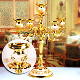 Wholesale Stand Holder Table - 5 Arms Candle Holders Candelabras Home Wedding Event Decoration Candelabra CandleStick Votive Gold Table Candle Holders