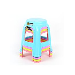 Wholesale Kitchen Chairs Wholesale - 46cm Colored Plastic Stool High PP Chair Living room Kitchen Thick Plastic Pedal Round Super Stable Stool With holes