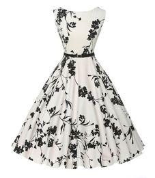 Wholesale Pinup Floral Dress - Women Vintage Retro 60S 50S Rockabilly Dresses Pinup Casual Summer Print Dress Audrey Hepburn Vestidos Party Robe Plus Size XXL