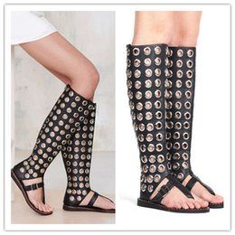 Wholesale Boots Ring - Summer Style New Fashion Metal Ring Hollow Women Flats Casual Thong Sandals Peep Toe Knee Boots Tall Canister Shoes Woman