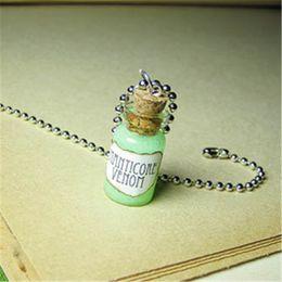 frasco de vidrio de plata collar Rebajas 12pcs / lot Juego de Tronos Collar MANTICORE VENOM Collar de Botella de Cristal Vial Colgante tono plateado