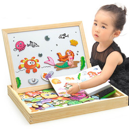 Wholesale Easels Boards For Kids - Boys Toys Magnetic Easel Wooden Double-face Dry Erase Board Puzzle Games for Kids Multi-function Magnetic Jigsaw Board Free DHL
