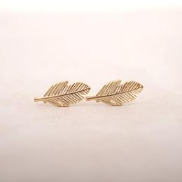 Wholesale Nose Rings Men - 2016 New Fashion Jewelry Gold Silver Fallen Leaves Stud Earrings for Women Vintage Leaf Earrings Gifts Men S038