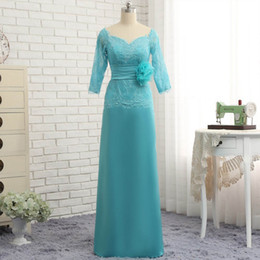Wholesale Turquoise Mother Bride - 2017 Mother Of The Bride Dresses Sheath V-neck 3 4 Sleeves Lace Turquoise Flowers Mother Dresses Evening Dresses For Weddings Custom made