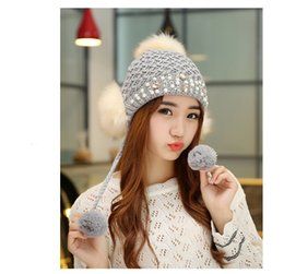 Wholesale Grey Knit Korean Style - New Arrival Winter Beanie Hats Skull Caps For Women Knitted Keep Warm Hat Fashion Korean Style Caps Free Size 5 Colors