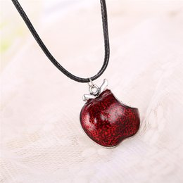 Wholesale Apple Movie - Wholesale-Movie Once Upon a Time Regina Mills Red Apple Crystal Pendants & Necklace Charm Necklace Collar Women Accesorios Mujer