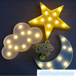 Wholesale Led Sign Emergency Light - Lovely Cloud Star Moon Night Light LED Marquee Sign Warm White LED Night Lamp for Baby Childrens Bedroom Decor Kids Gift Toy