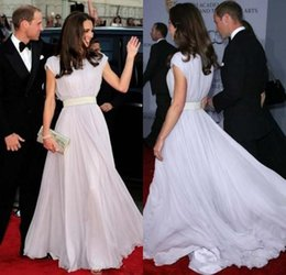Wholesale Kate Middleton Purple Dress - A Line Scoop Kate Middleton Bateau Sash Cap Sleeve Prom Dresses Custom Silver Chiffon Evening Gowns Celebrity Long Women Formal Dresses
