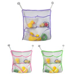 Wholesale Disposable Bath Tubs - 43*42CM Baby Bath Tub Toy Tidy Storage Suction Cup Bag Mesh Bathroom Toys Organiser Net swimming pool accessories