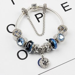 Wholesale Chamilia Crystal Beads - 925 Sterling Silver Plated Charm Bracelet European Beads Elegant Royal Blue Glitter Starry Sky fit Chamilia Jewelry Snake Chain New Arrival