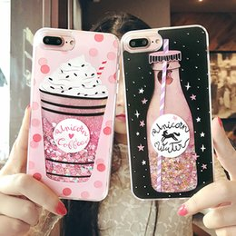 Wholesale Iphone Cases Drunk - For iPhone 6 6S 7 Plus Cute Drink Bottle Ice Cream Heart Glitter Star Dynamic Liquid Quicksand Soft TPU Phone Back Cover Case