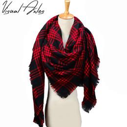 Wholesale Warmest Blanket Luxury - [Visual Axles] Za Winter Luxury Brand Female Tartan Plaid Blanket Scarf Wrap Shawl Neck Stole Warm Plaid Checked Pashmina