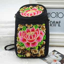 Wholesale Female Camera Bags - Wholesale- 2016 purse female Chinese style women wallets Hand embroidered canvas camera bag phone messenger bag zx*B1001W#C3