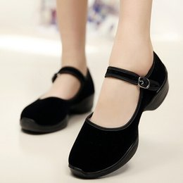 Wholesale Chinese High Heels - Women Work Dress Shoes Pumps Chinese National Black Belt Buckle Suede Cloth Chunky Heel Thick Medium Heels Heeled High Round Toe