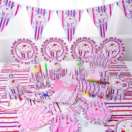 Wholesale Birthday Party Supplies Themes - Tablewares Kid Birthday Articles Cartoon Party Activities Supplies Ice Cream Pink Theme Decorate Set Disposable Tableware 37 8mxb C R