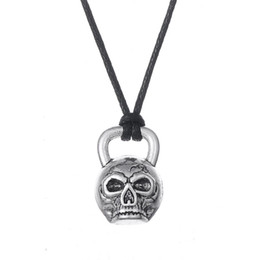 Wholesale Kettlebell Jewelry - comejewelry Religious Kull Pendant Kettlebell Goth Necklace Bone Gothic Voodoo Jewelry Rope Statement Necklace Freeshipping