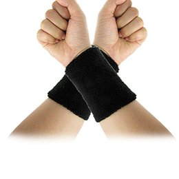 elastic wrist sweatbands Coupons - Wholesale- Super sell Black Elastic Terry Wrist Sweatband Sports Support 2Pcs
