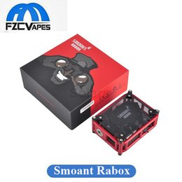 Wholesale Building Mechanical - Original Smoant Rabox Mod 80W Mechanical Mod Black White Red 3300mAh Built In Lipo Craft Box Kit with Adjustable Mode