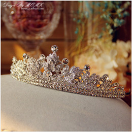 Wholesale Skeleton Necklace Pink - 2017 Vintage Crystal Wedding Bridal Crown Necklace Earring Hair Accessories Baroque Tiara Rhinestone Handmade Crystals Jewelry Set