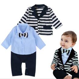 Wholesale Down Coat Romper - 2016 Hot Sale Kids Suits 2-Pcs Baby Boy Gentlemen Suit Christmas Sets Newborn Infant Bowknot Romper+Stripe Coat Bodysuits Outfits Sets Q0508