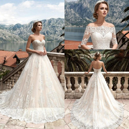 Wholesale Wedding Off Shoulder Jacket - 2017 Full Lace Sweetheart A Line Wedding Dresses Lace Up Back With Removable Jacket Half Sleeves Custom Made Bridal Gowns BA4684