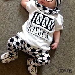 "Wholesale Football Tshirt - ins summer baby boys girls ""kisses"" letter print tshirt tops tees and infant football pants shorts"