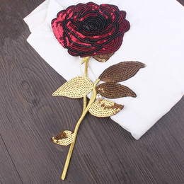 Wholesale Nice Red Rose - Nice Details Large Red Rose Sequins Embroidered Iron On Patches 17x33cm Flower Patch For Wedding Dress Clothes Jean DIY Motif Applique Decor