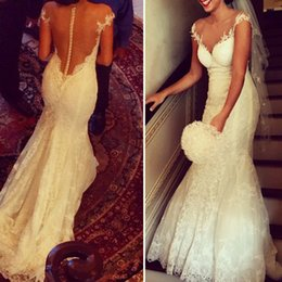 Wholesale Modest Mermaid Dresses - Modest Lace Wedding Dresses Sheer Neck Cap Sleeves Appliques Tulle See Through Back Mermaid Wedding Dresses Cheap Bridal Dresses