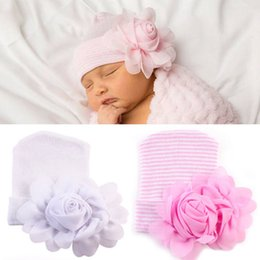 Wholesale Flower Knit Hat - Baby Products chiffon flower stripe Newborn Wholesale Caps Infant Beanie Hat Caps Boys Girls Hand Knitted Caps Children kids Beanies A280