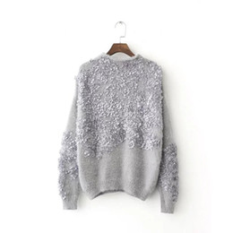 Wholesale Flower Applique Sweater - Wholesale-2016 Autumn women sweaters and pullovers casual female flower applique solid color oversized sweater