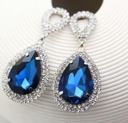Wholesale Super Jewelry - 2017 Fashion jewelry crystal super flash silver electroplating water drop Rhinestone big drop Earrings for women #E014