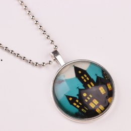 Wholesale Silver House Pendant - 2017 fashion exaggerated haunted house castle cartoon pattern luminous pendant necklace Halloween gift necklace for women jewelry accessorie
