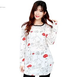 Wholesale Heart Print Sweater - Wholesale-2016 Spring New Women Sweater Star heart Printed Long Sleeve Casual Pullover Long sleeve O-neck Striped sweater ^y