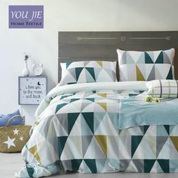 camas modernas Rebajas Al por mayor- 100% algodón moderno juego de cama geométrico 4 piezas 36S Inicio Sateen algodón 200TC Funda nórdica Funda de almohada cama Set Queen King